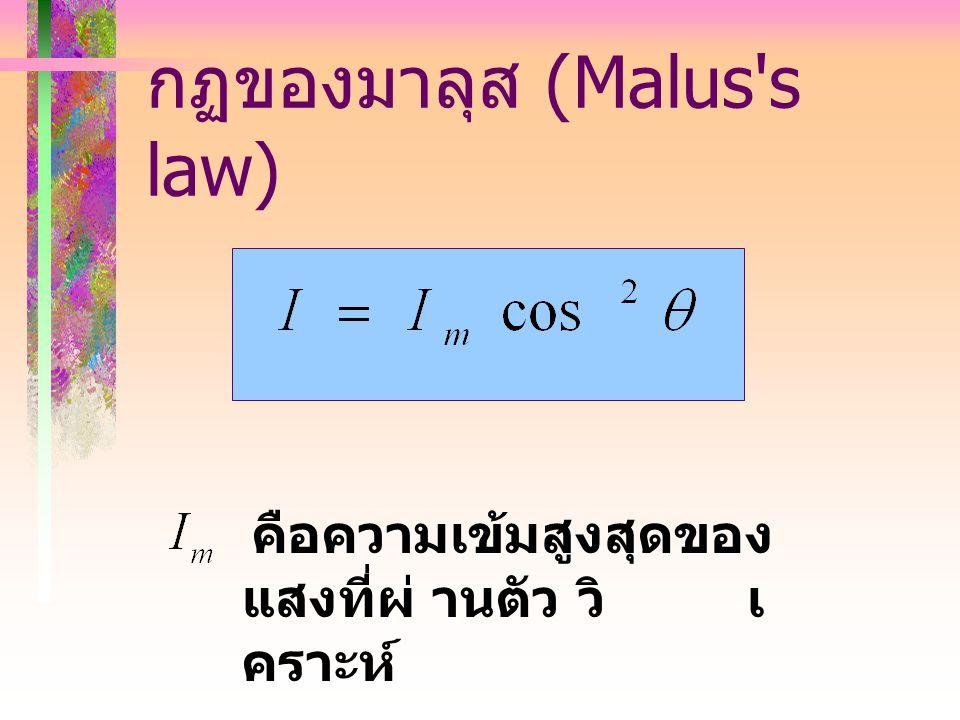กฏของมาลุส (Malus s law)