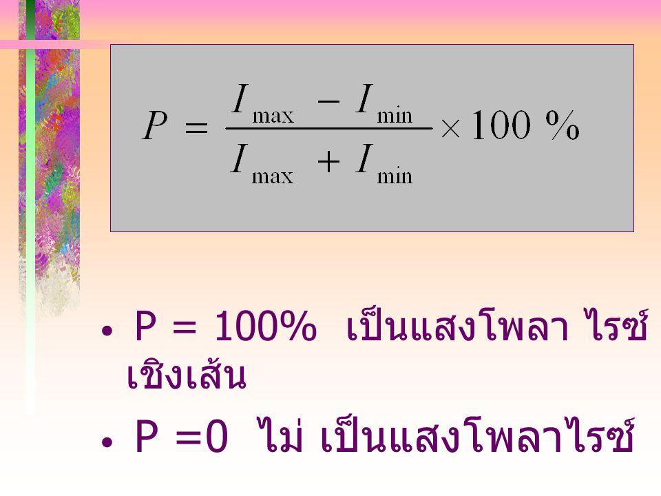 P = 100% เป็นแสงโพลา ไรซ์เชิงเส้น