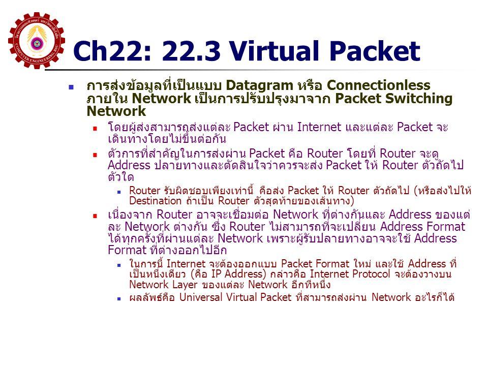 Ch22: 22.3 Virtual Packet การส่งข้อมูลที่เป็นแบบ Datagram หรือ Connectionless ภายใน Network เป็นการปรับปรุงมาจาก Packet Switching Network.