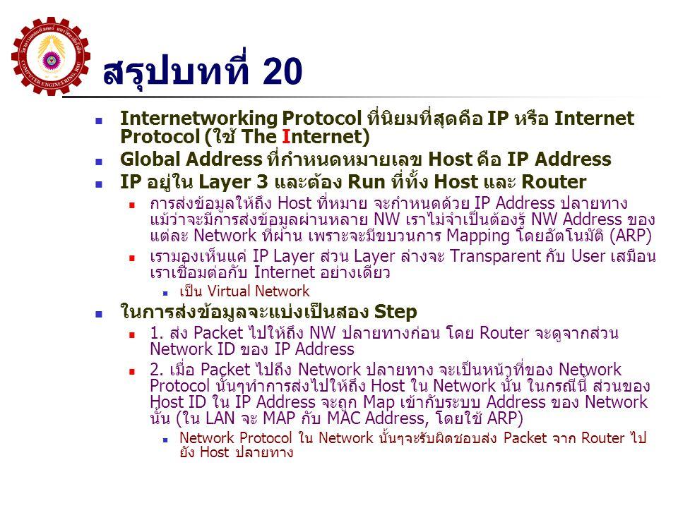 สรุปบทที่ 20 Internetworking Protocol ที่นิยมที่สุดคือ IP หรือ Internet Protocol (ใช้ The Internet)