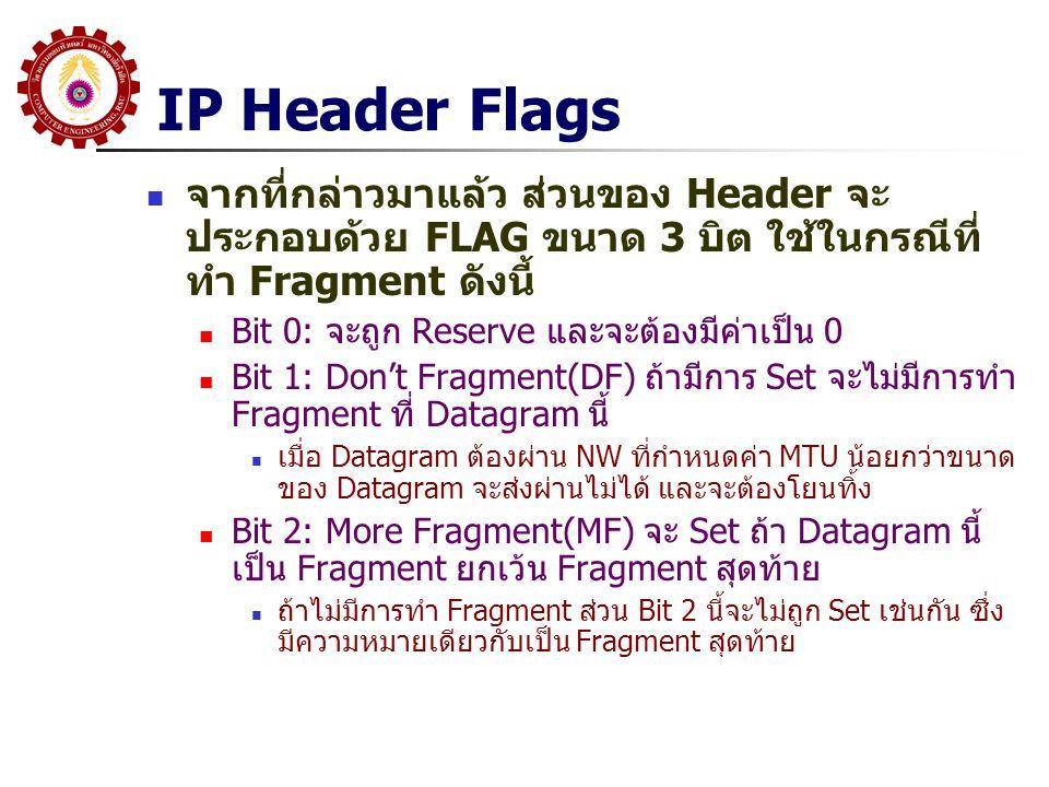 IP Header Flags จากที่กล่าวมาแล้ว ส่วนของ Header จะประกอบด้วย FLAG ขนาด 3 บิต ใช้ในกรณีที่ทำ Fragment ดังนี้