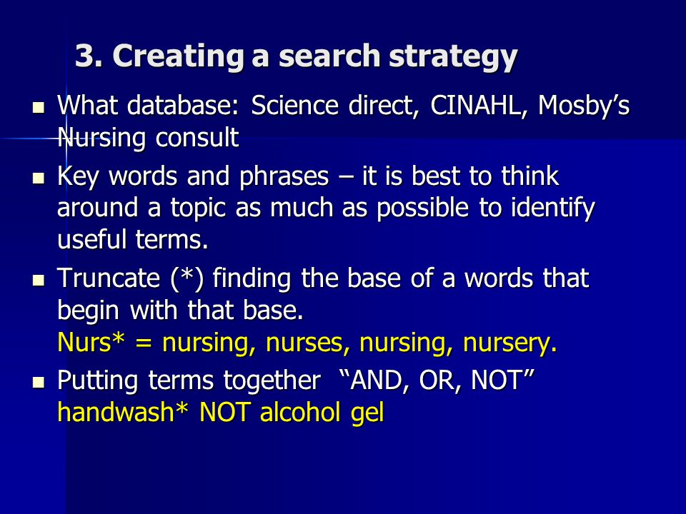 3. Creating a search strategy