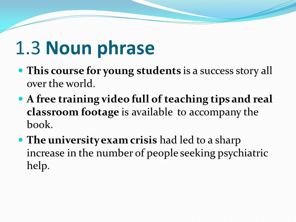 1.3 Noun phrase This course for young students is a success story all over the world.