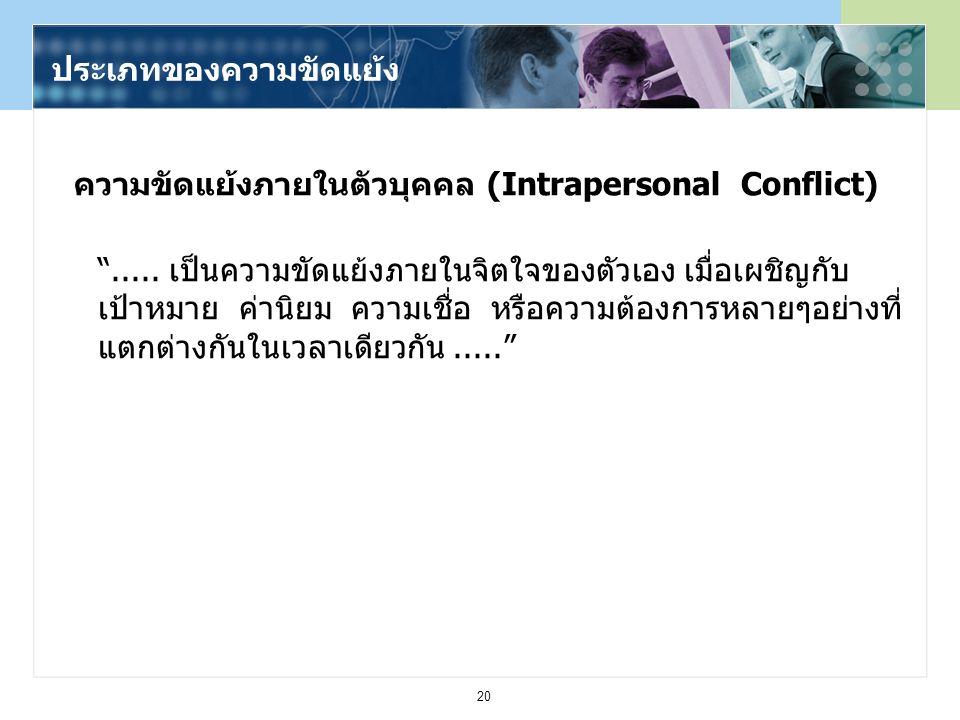 ความขัดแย้งภายในตัวบุคคล (Intrapersonal Conflict)