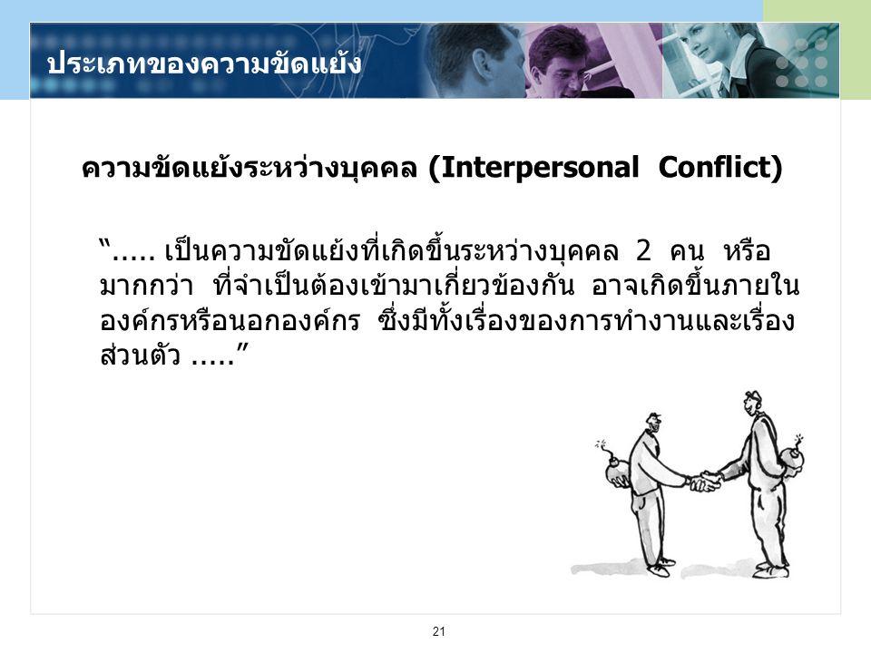 ความขัดแย้งระหว่างบุคคล (Interpersonal Conflict)