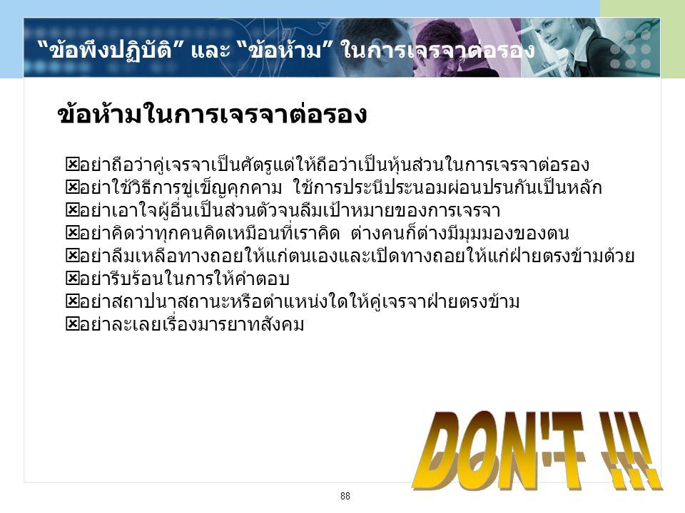 DON T !!! ข้อห้ามในการเจรจาต่อรอง