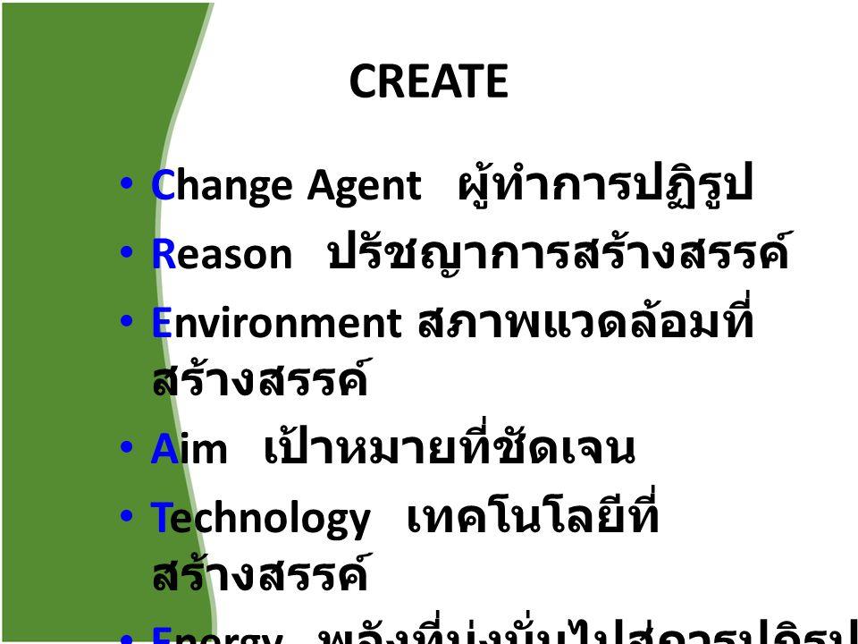 CREATE Change Agent ผู้ทำการปฏิรูป Reason ปรัชญาการสร้างสรรค์