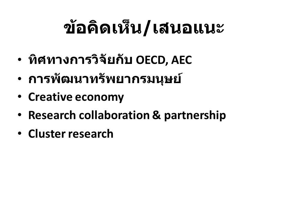 ข้อคิดเห็น/เสนอแนะ ทิศทางการวิจัยกับ OECD, AEC การพัฒนาทรัพยากรมนุษย์