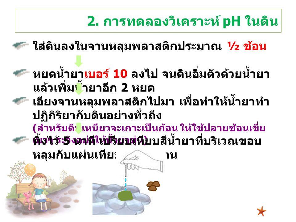 2. การทดลองวิเคราะห์ pH ในดิน