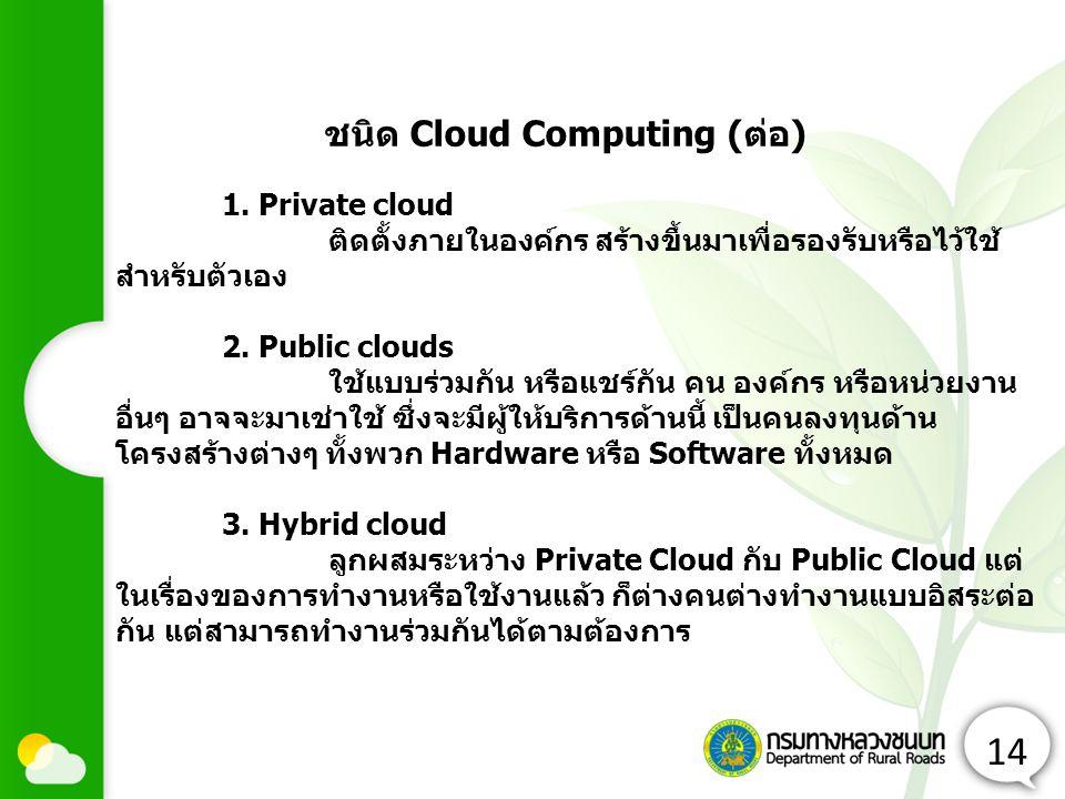 ชนิด Cloud Computing (ต่อ)