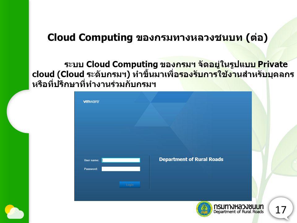 Cloud Computing ของกรมทางหลวงชนบท (ต่อ)