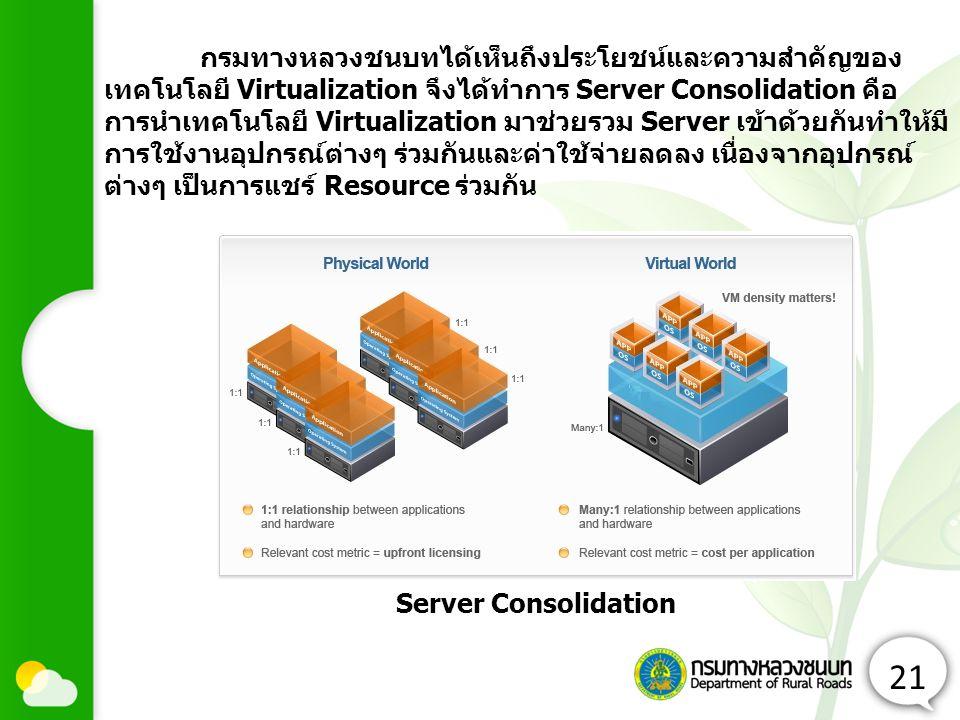 กรมทางหลวงชนบทได้เห็นถึงประโยชน์และความสำคัญของเทคโนโลยี Virtualization จึงได้ทำการ Server Consolidation คือ การนำเทคโนโลยี Virtualization มาช่วยรวม Server เข้าด้วยกันทำให้มีการใช้งานอุปกรณ์ต่างๆ ร่วมกันและค่าใช้จ่ายลดลง เนื่องจากอุปกรณ์ต่างๆ เป็นการแชร์ Resource ร่วมกัน