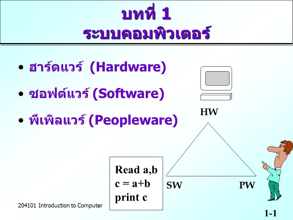 บทที่ 1 ระบบคอมพิวเตอร์