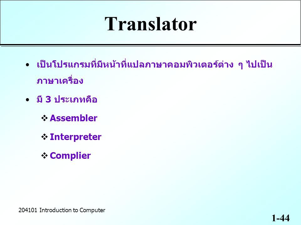 Translator เป็นโปรแกรมที่มีหน้าที่แปลภาษาคอมพิวเตอร์ต่าง ๆ ไปเป็นภาษาเครื่อง. มี 3 ประเภทคือ. Assembler.