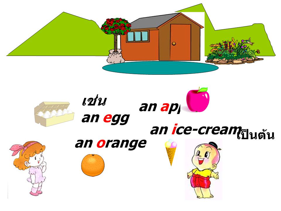 an apple เช่น an egg an ice-cream เป็นต้น an orange