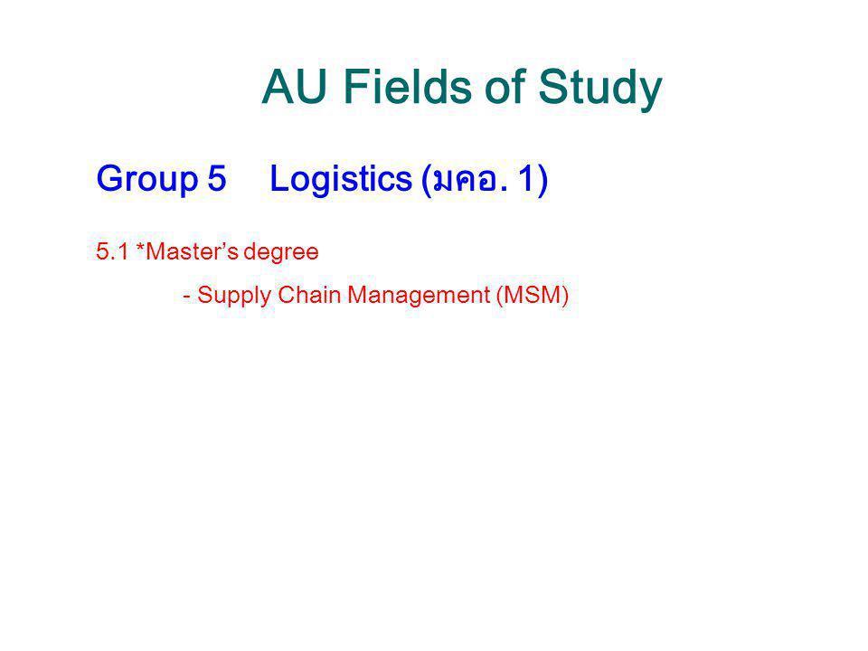 AU Fields of Study Group 5 Logistics (มคอ. 1) 5.1 *Master's degree