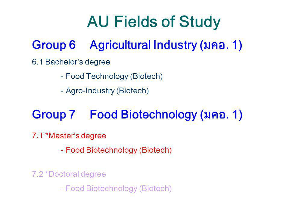 AU Fields of Study Group 6 Agricultural Industry (มคอ. 1)