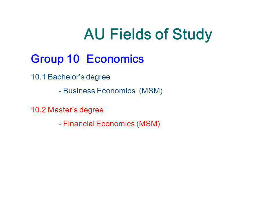 AU Fields of Study Group 10 Economics 10.1 Bachelor's degree