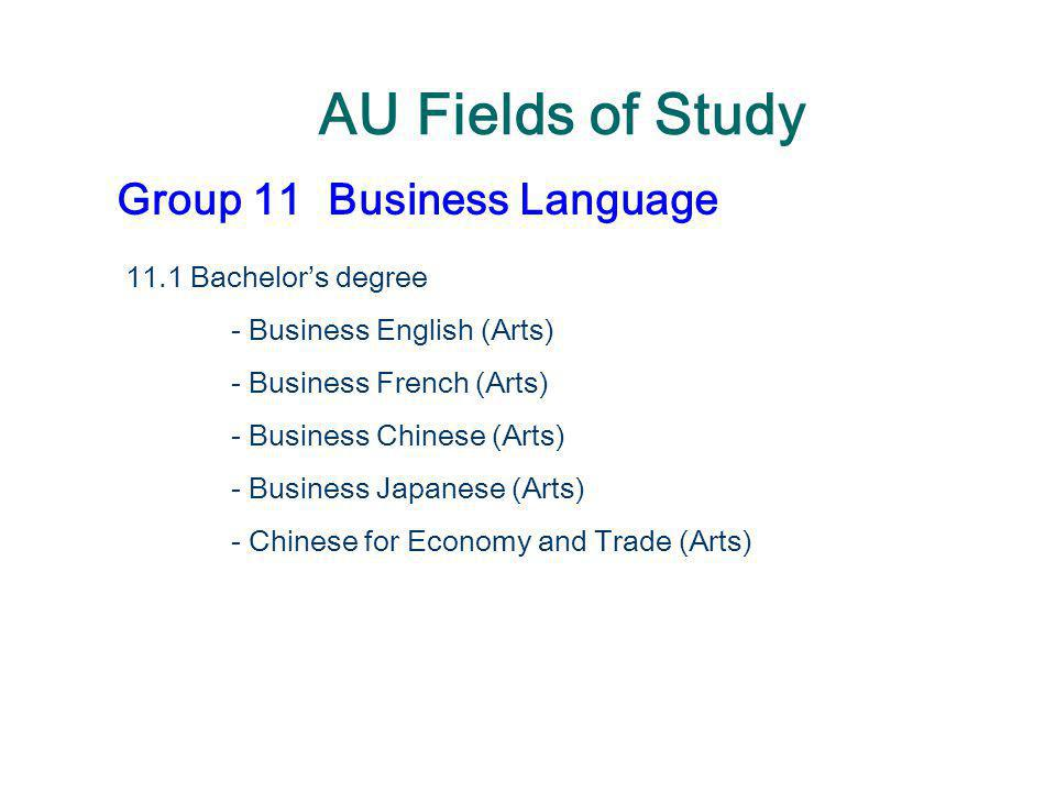 AU Fields of Study Group 11 Business Language 11.1 Bachelor's degree