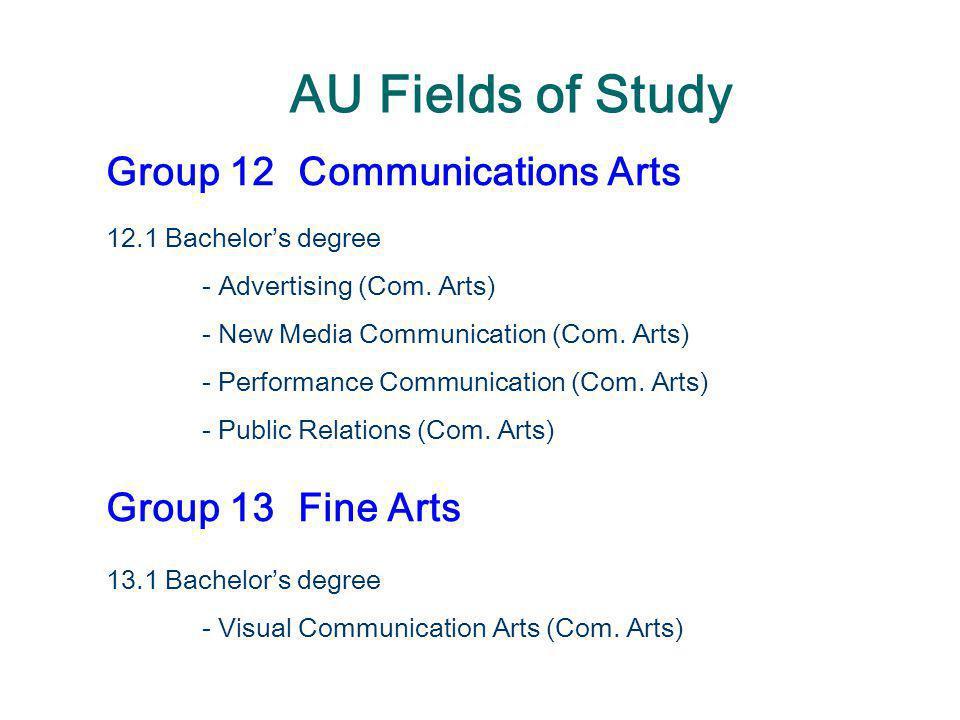 AU Fields of Study Group 12 Communications Arts Group 13 Fine Arts