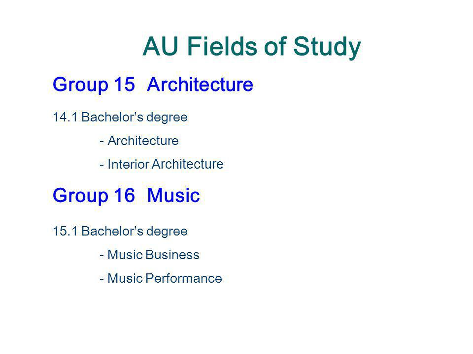 AU Fields of Study Group 15 Architecture Group 16 Music