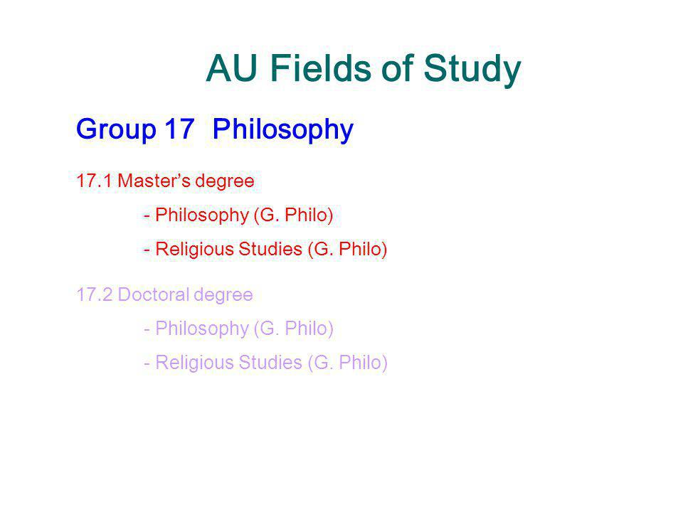 AU Fields of Study Group 17 Philosophy 17.1 Master's degree