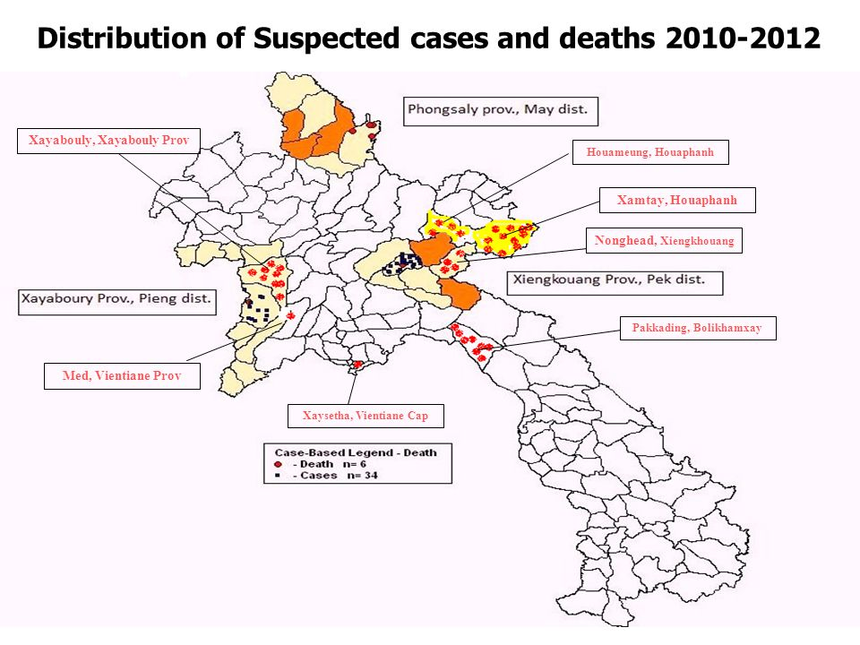 Distribution of Suspected cases and deaths 2010-2012