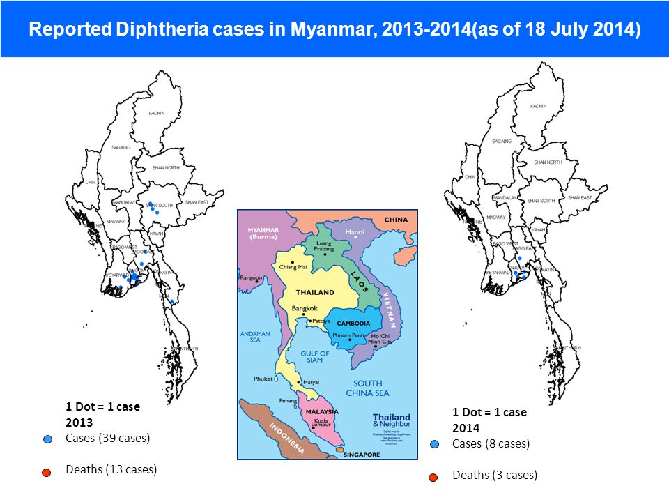 Reported Diphtheria cases in Myanmar, 2013-2014(as of 18 July 2014)