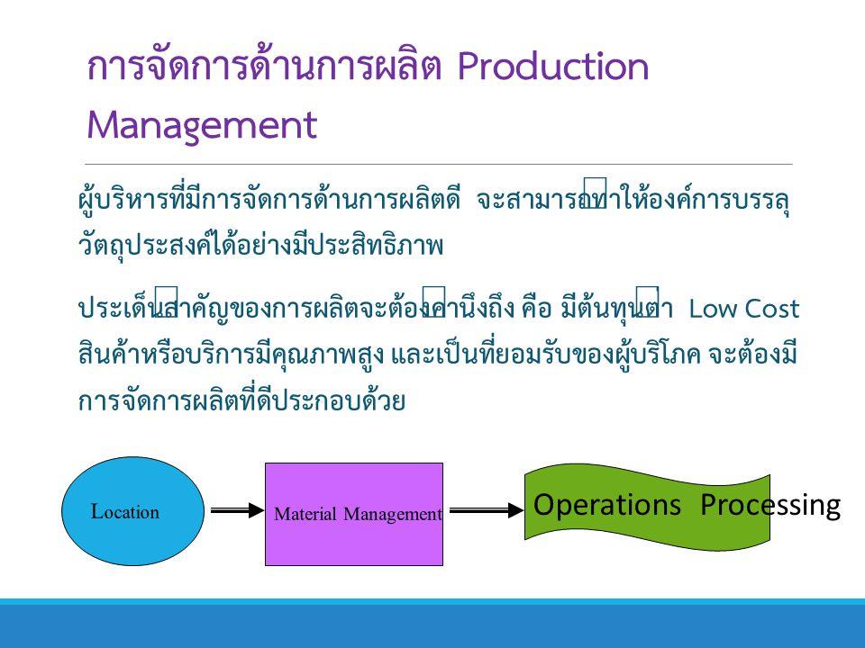 การจัดการด้านการผลิต Production Management