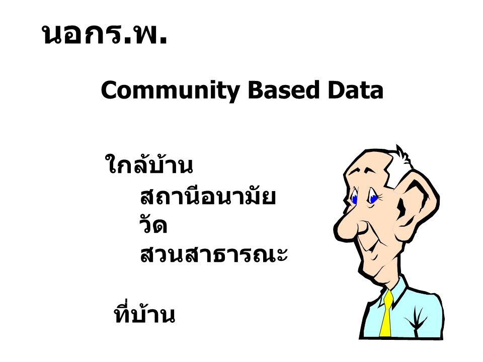 นอกร.พ. Community Based Data ใกล้บ้าน สถานีอนามัย วัด สวนสาธารณะ