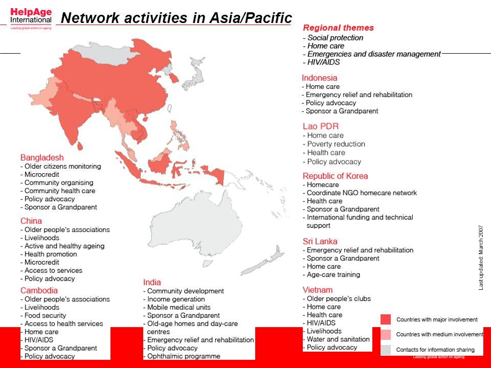 Network activities in Asia/Pacific