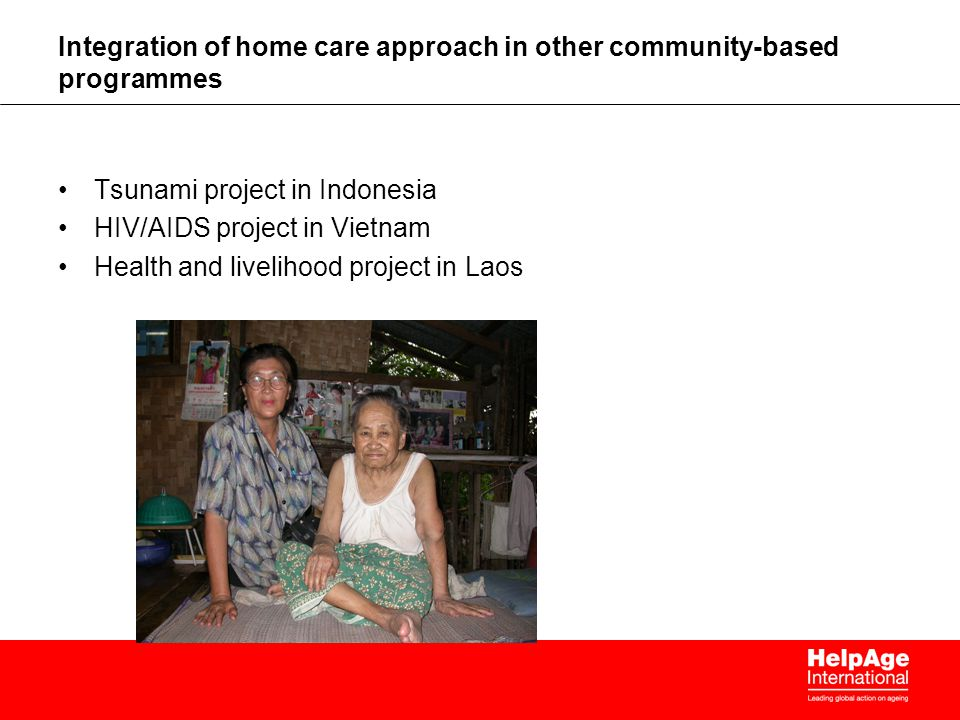 Integration of home care approach in other community-based programmes