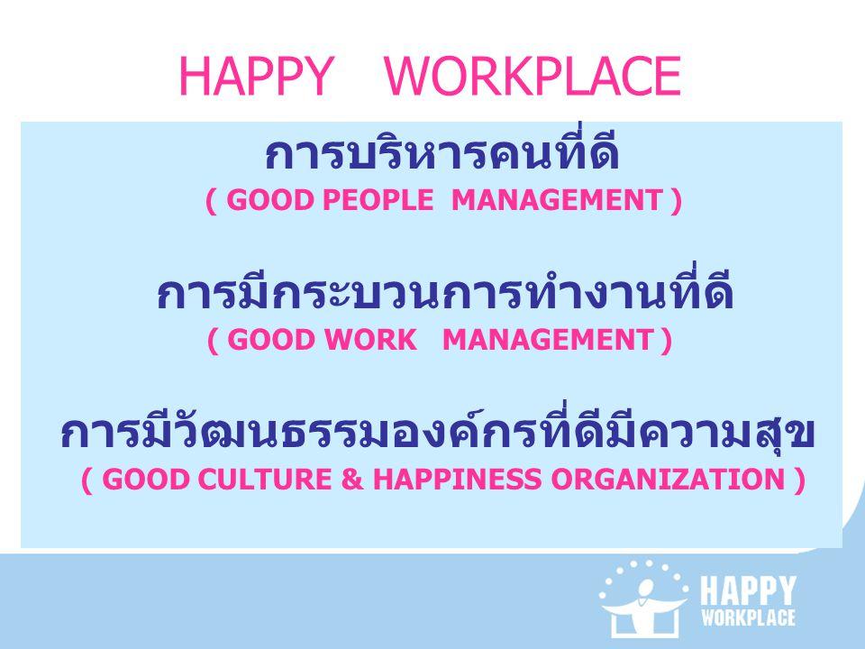 HAPPY WORKPLACE การมีกระบวนการทำงานที่ดี