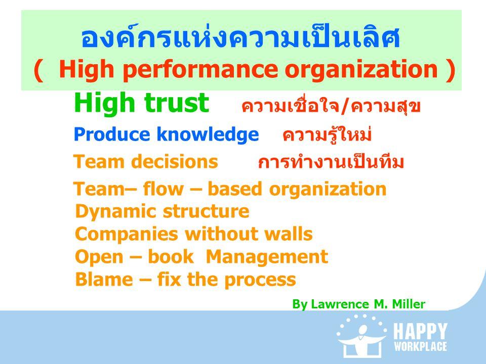 องค์กรแห่งความเป็นเลิศ ( High performance organization )