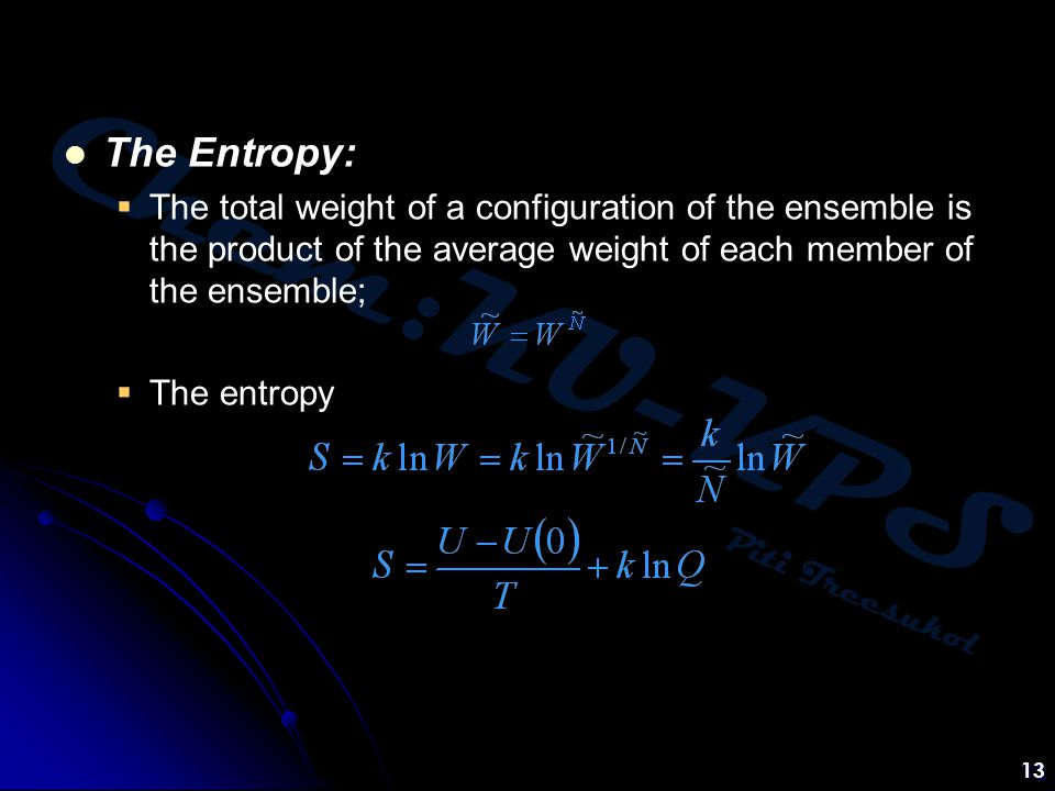 The Entropy: The total weight of a configuration of the ensemble is the product of the average weight of each member of the ensemble;