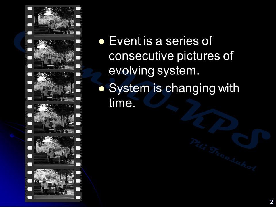Event is a series of consecutive pictures of evolving system.