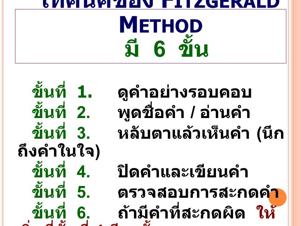 เทคนิคของ Fitzgerald Method มี 6 ขั้น