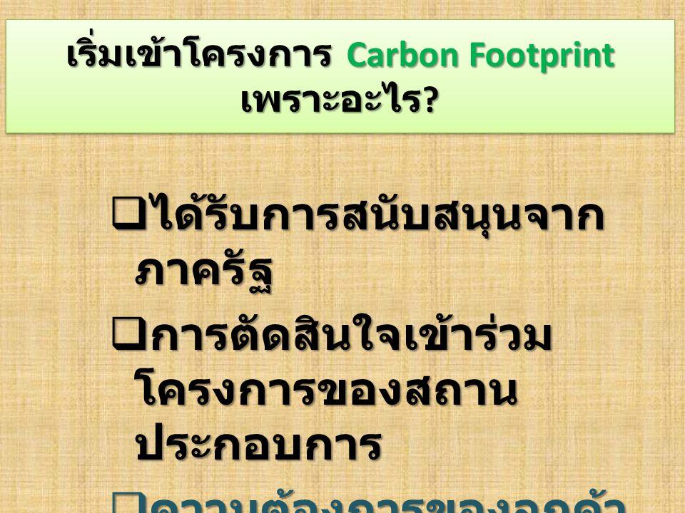 เริ่มเข้าโครงการ Carbon Footprint เพราะอะไร