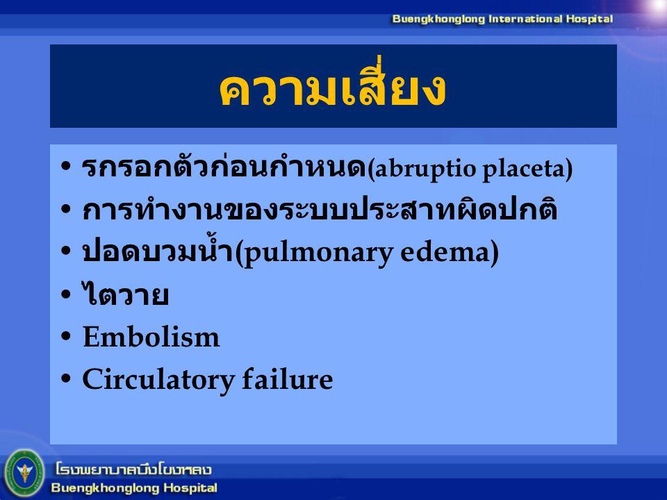 ความเสี่ยง รกรอกตัวก่อนกำหนด(abruptio placeta)