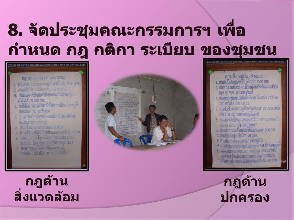 8. จัดประชุมคณะกรรมการฯ เพื่อกำหนด กฎ กติกา ระเบียบ ของชุมชน