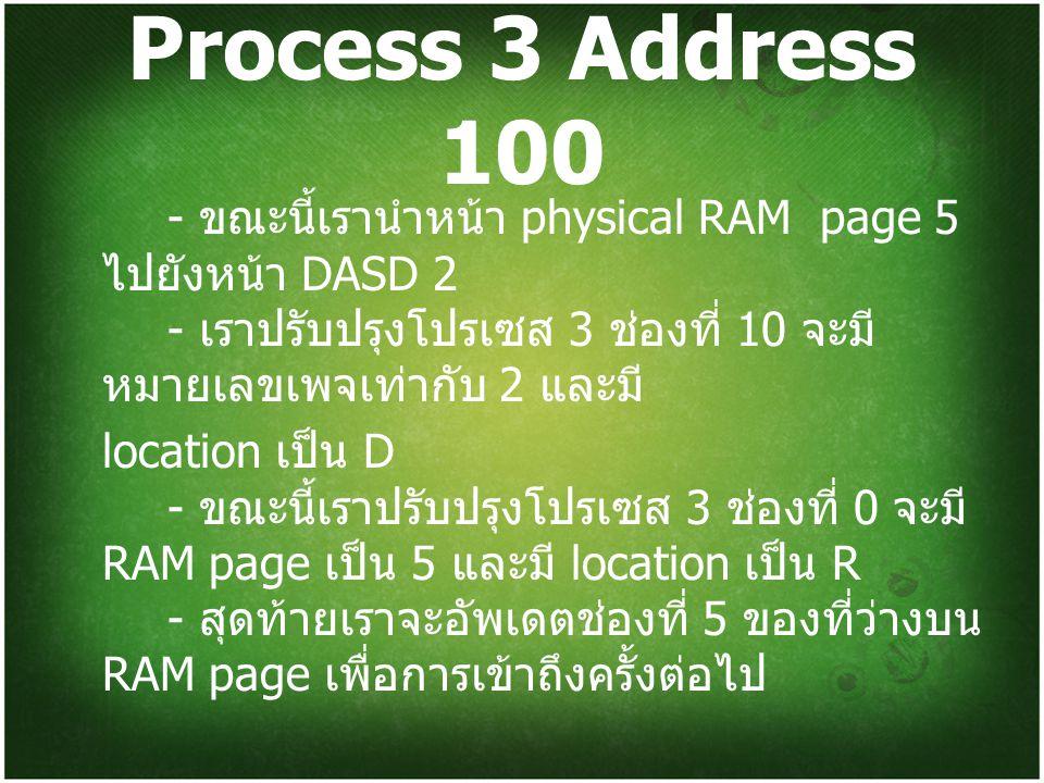 Process 3 Address 100 - ขณะนี้เรานำหน้า physical RAM page 5 ไปยังหน้า DASD 2 - เราปรับปรุงโปรเซส 3 ช่องที่ 10 จะมีหมายเลขเพจเท่ากับ 2 และมี