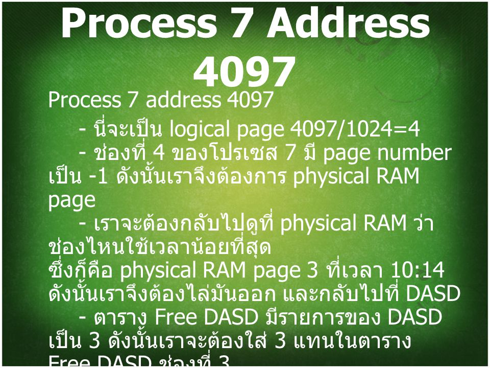 Process 7 Address 4097 Process 7 address 4097