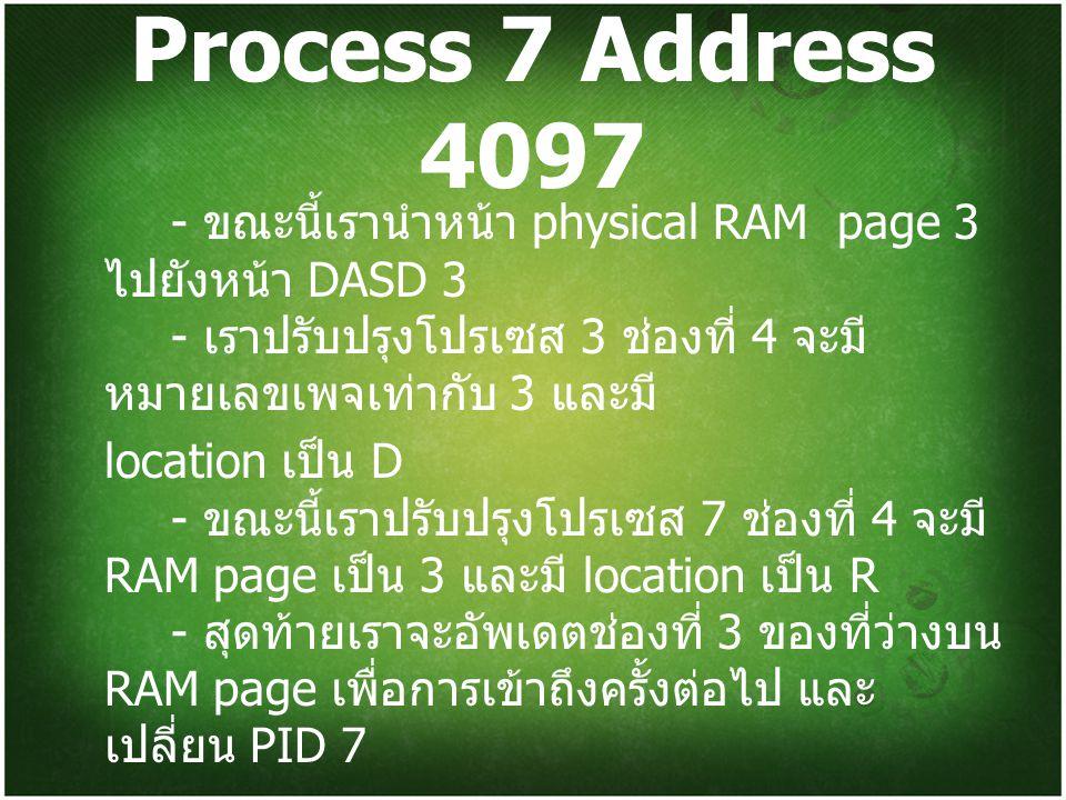 Process 7 Address 4097 - ขณะนี้เรานำหน้า physical RAM page 3 ไปยังหน้า DASD 3 - เราปรับปรุงโปรเซส 3 ช่องที่ 4 จะมีหมายเลขเพจเท่ากับ 3 และมี