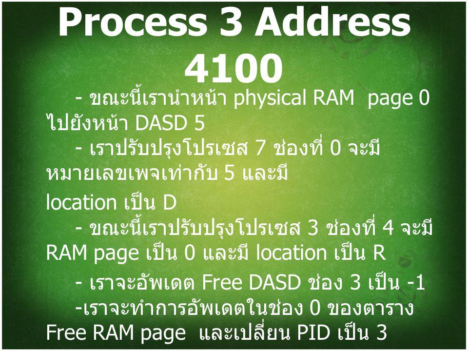 Process 3 Address 4100 - ขณะนี้เรานำหน้า physical RAM page 0 ไปยังหน้า DASD 5 - เราปรับปรุงโปรเซส 7 ช่องที่ 0 จะมีหมายเลขเพจเท่ากับ 5 และมี
