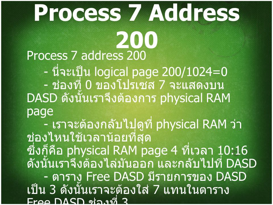 Process 7 Address 200 Process 7 address 200
