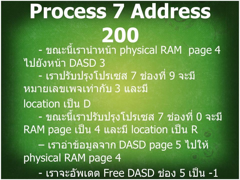 Process 7 Address 200 - ขณะนี้เรานำหน้า physical RAM page 4 ไปยังหน้า DASD 3 - เราปรับปรุงโปรเซส 7 ช่องที่ 9 จะมีหมายเลขเพจเท่ากับ 3 และมี