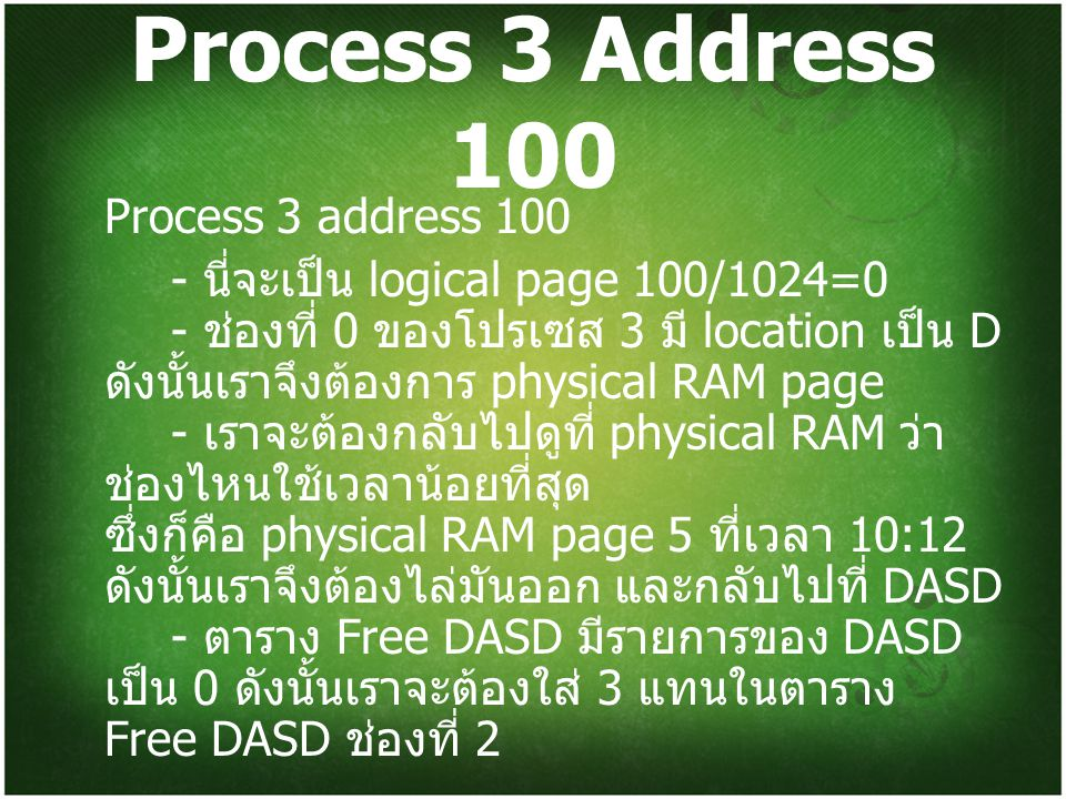 Process 3 Address 100 Process 3 address 100
