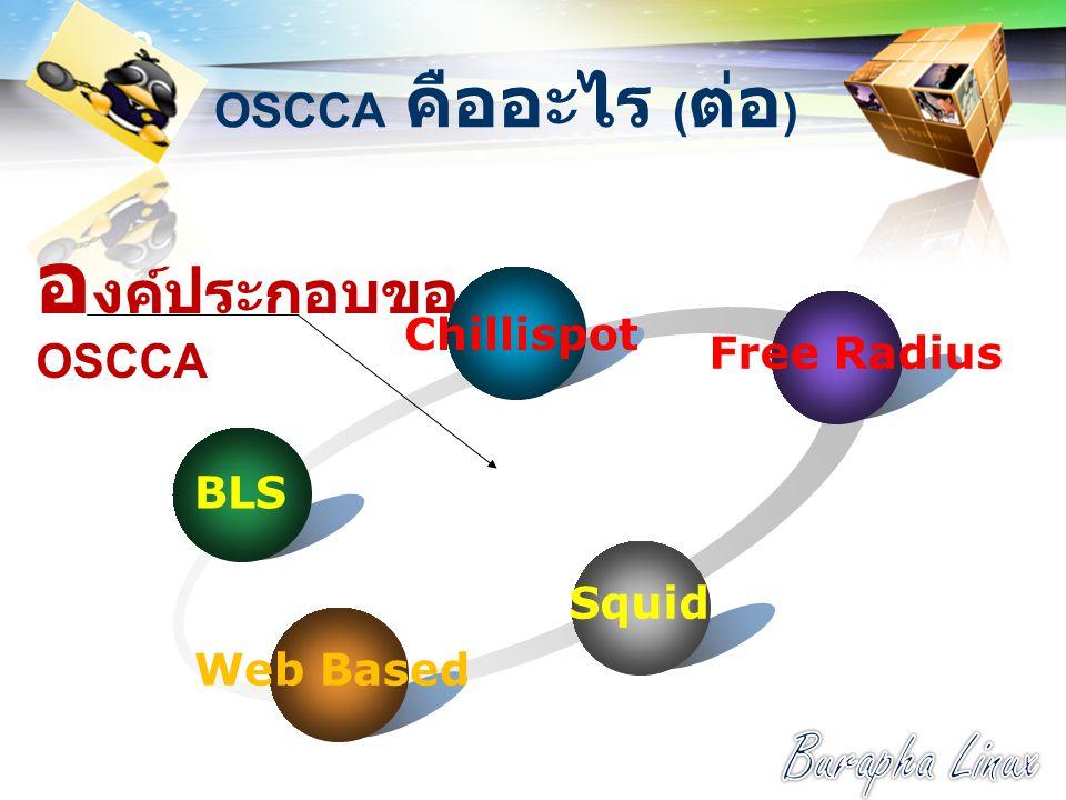 องค์ประกอบของ OSCCA Burapha Linux OSCCA คืออะไร (ต่อ) Chillispot