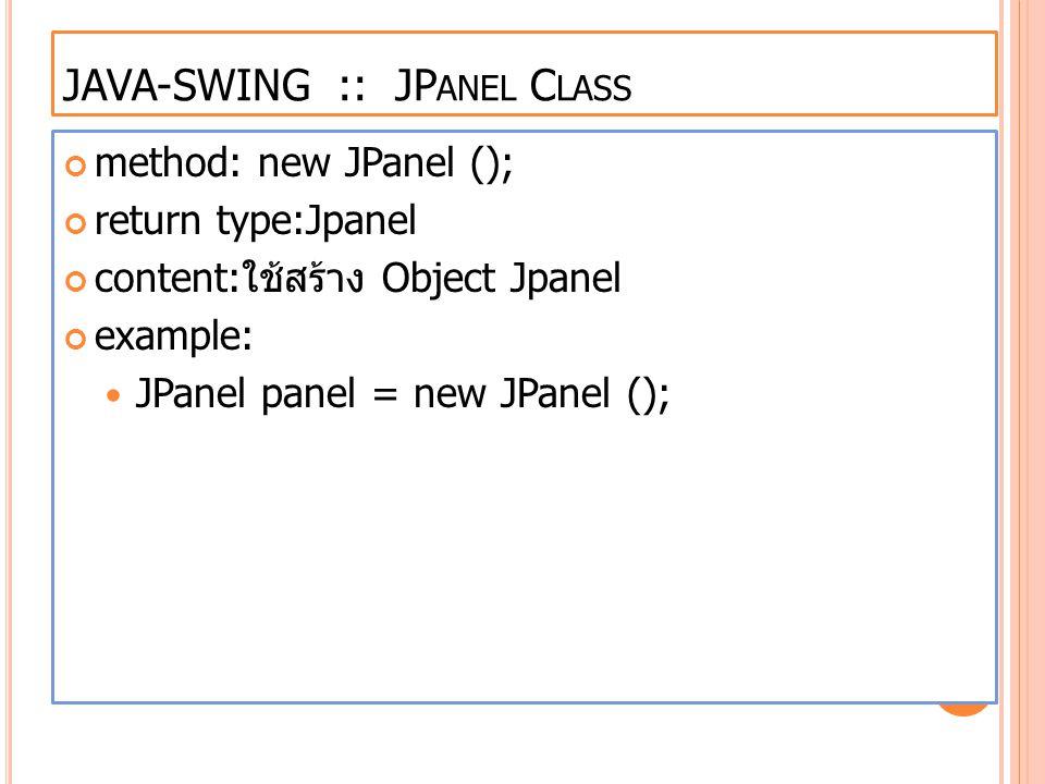 JAVA-SWING :: JPanel Class
