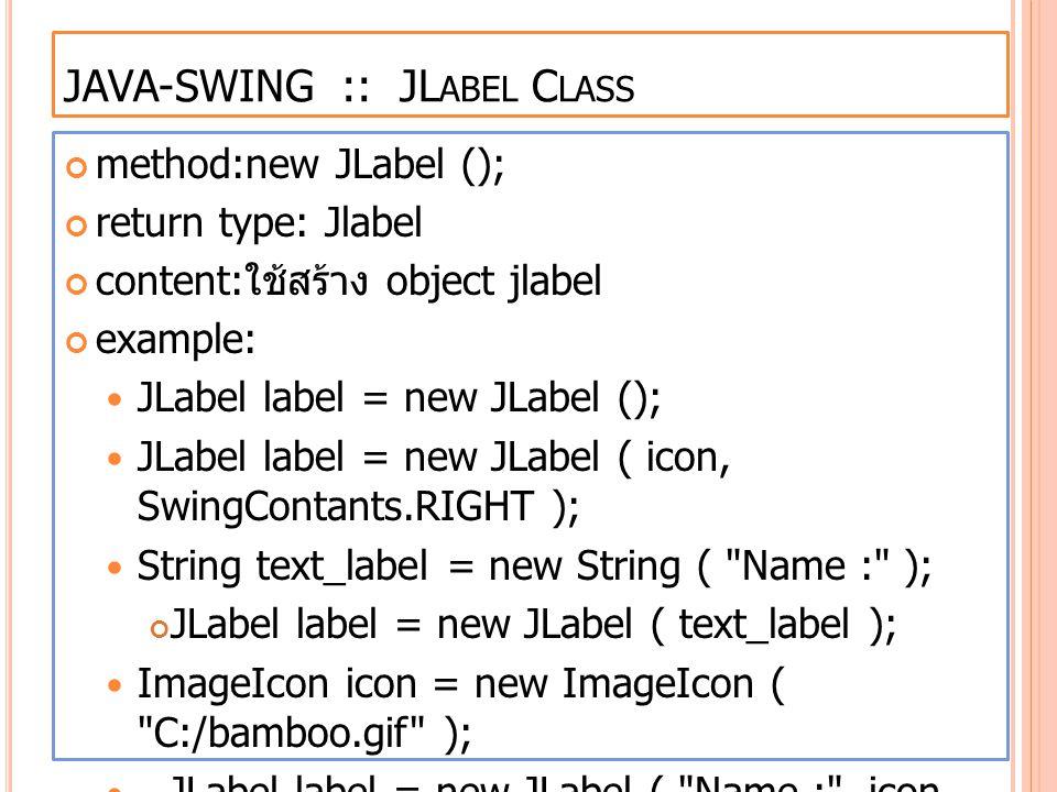 JAVA-SWING :: JLabel Class